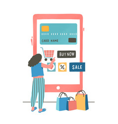 Girl paying with credit card flat vector