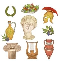 Greece In Color Icon Set vector