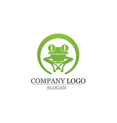 Green frog symbols logo and template vector