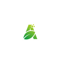 green leaf a initial organic logo vector image