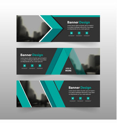 Green triangle business banner template horizontal vector