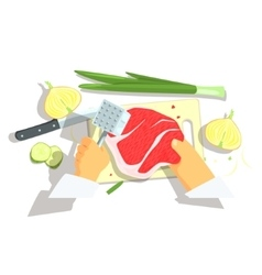 Hands Of Professional Cook Cutting Ingredients For vector