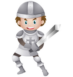 Handsome knight in armour suit holding sword vector