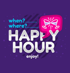 happy hour design pink sky blue purple colors vector image
