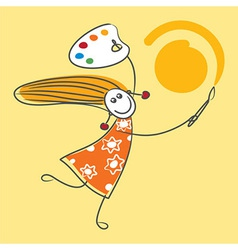 Happy little girl drawing sun vector image