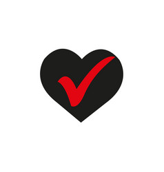 Heart with check icon in a flat design in black vector