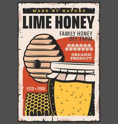 honey jar wild bee hive and honeycomb vector image