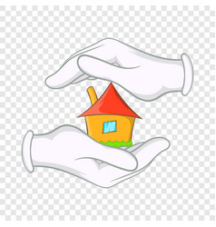 house in hands icon cartoon style vector image