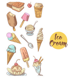 ice cream hand drawn background vector image