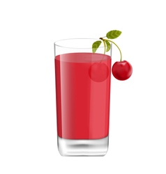 Juice in Glass with Two Cherries Isolated on White vector