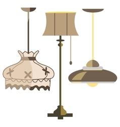 Lamps furniture set light design electric vector
