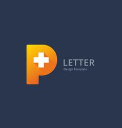 Letter p cross plus medical logo icon design vector