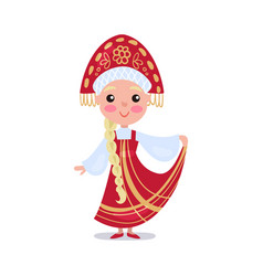 little girl wearing red sarafan and kokoshnik kid vector image