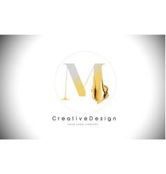 m golden letter design brush paint stroke gold vector image