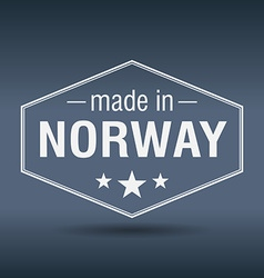 Made in Norway hexagonal white vintage label vector