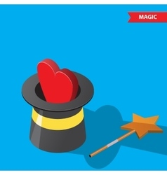 Magic hat and heart vector