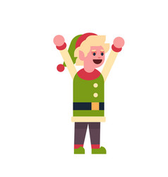 man elf santa claus helper raised hands up merry vector image