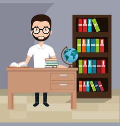 Man teacher in the classroom vector
