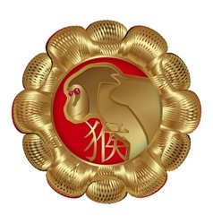 Medallion monkey symbol year vector