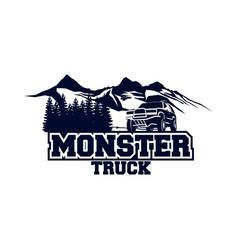 Monster truck logo badge off road car logo vector