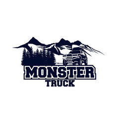 Monster truck logo badge off road car logo with vector