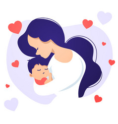 Mother in love holding baby vector