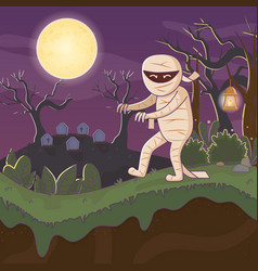 mummy walking in cemetery halloween vector image