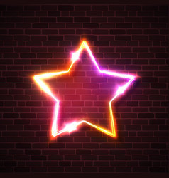 neon sign realistic star background on brick wall vector image