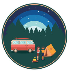 night camping poster vector image
