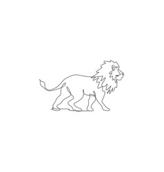 One single line drawing wild male lion vector