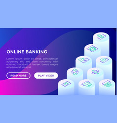 online banking concept with isometric line icons vector image