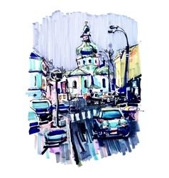 Original marker urban sketch on paper of Kyiv vector