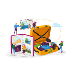 people after vacation spare time tiny characters vector image