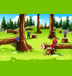 people cutting down trees vector image