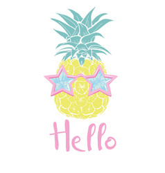 pineapple with glasses tropical design exotic vector image