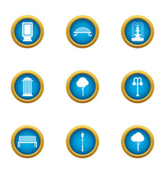 Public horticultural icons set flat style vector