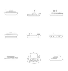 Seafarer icons set outline style vector