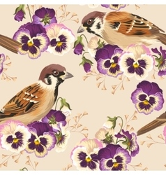 seamless pansy and bird vector image