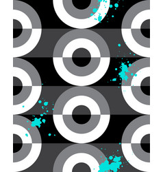 Seamless pattern black white turquoise spatter vector