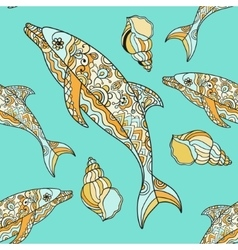 seamless pattern with hand drawn dolphin vector image