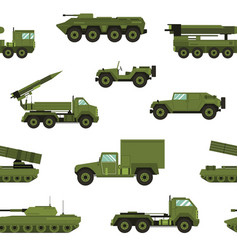seamless pattern with military transport on white vector image