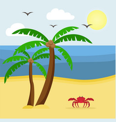 seascape with palm trees and crab vacation at sea vector image