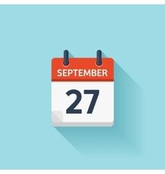 September 27 flat daily calendar icon vector