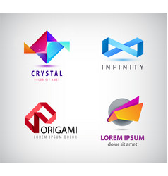 set of abstract origami logos icons vector image