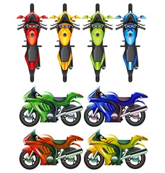 Set of motorcycle in many colors vector image