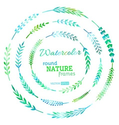 Set of watercolour nature frames vector