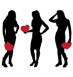 silhouette a girl holding a heart vector image