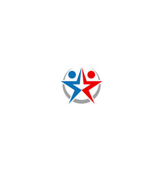 star couple abstract people logo vector image