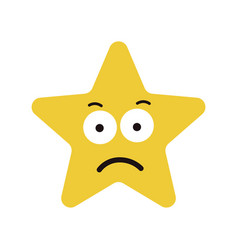 Star cute character sad expression vector