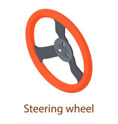 Steering wheel icon isometric 3d style vector